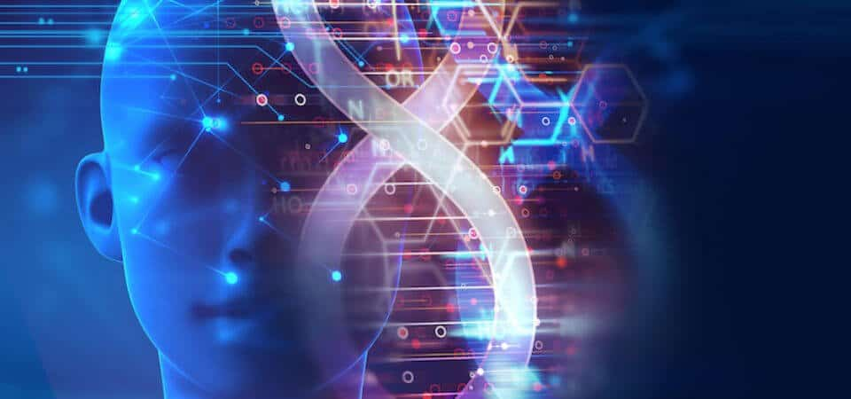 bigstock dna molecules on abstract tech