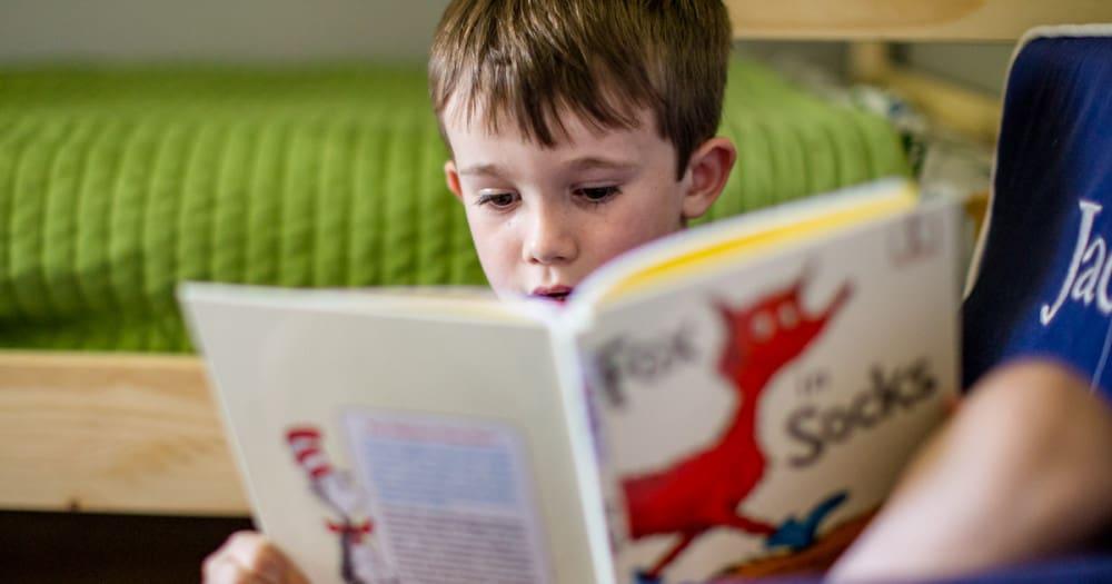 boy inside chair reading book