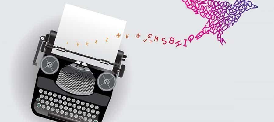 healing power poetry typewriter colorful bird