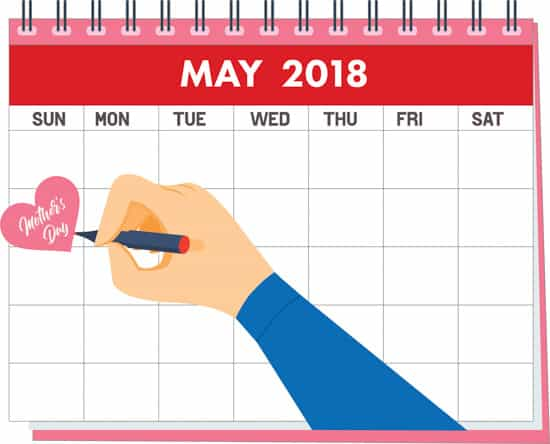 mothers day on may calendar clipart