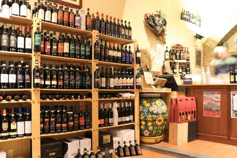 wine shop tuscany enoteca typical montalcino region italy known execellent wines specifically type called