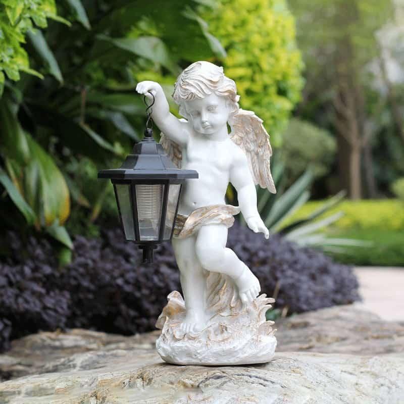 Outdoor Garden Courtyard Villa Landscape Decoration Decor Sculpture Angel Carrying Solar Lamp Glass Steel Yard Statue